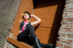 004 (Fearless Zombie) Tags: seattle fashion washington spring punk boots tie bowlerhat april wa vest pioneersquare leggings pinktie combatboots flashmafia clockworkorangefashion