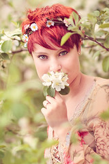 Engaged (Victoria Hederer Bell) Tags: portrait woman flower tree apple beautiful leaves wisconsin outside bride leaf engagement spring eyes blossom 14 daughter 85mm short 7d fragrant lovely redhair manualfocus cora rokinon victoriahedererbell