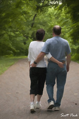 A walk in the park (Scott Pack) Tags: park woman man nature scenic lovers oldercouple couplewalking digitialpainting