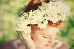 (-Fearless-) Tags: flowers red portrait selfportrait flower macro girl closeup self hair redhead lilac crown lilacs
