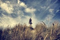 Dune (Fab Cohen) Tags: blue sky cloud beach nature girl model sand wind dune scene blonde