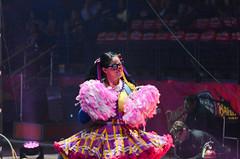 Female Clown Cheerleader (Tex Texin) Tags: girl female oakland brothers circus clown dancer arena gymnast bailey acrobat athlete performer bros pompoms ringling barnum ringlingbros greatestshow builttoamaze cheerleeader
