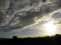 cloud building on the grid (rospix) Tags: uk light sunset summer sky cloud sun nature wales clouds countryside pattern stripes august hedge chemtrails powys climatecontrol globaldimming 2013 geoengineering weathermanipulation rospix
