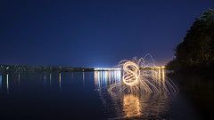 Wading out in the river (Frank O Cone) Tags: wool water burning burn wenatchee steelwool