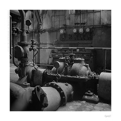 Forgotten power plant (bolas) Tags: plant 6x6 tlr rolleiflex screws industrial power trix pipes plus machines agfa lodz d tessar duoscan rolleiflexautomat ultrafin t1200