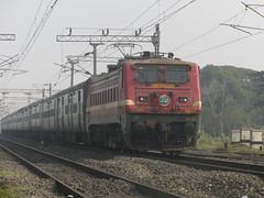 "Durgiana Superfast Express Blasting Through Khana Junction (""White Beast Lover"" Rohit Basu) Tags: express kolkata amritsar durgiana 22411 hwh wap4"