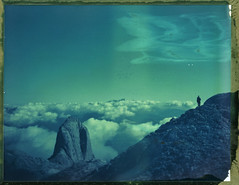Along The Sky (Bastiank80) Tags: camera sky mist color film nature field fog clouds analog polaroid rocks tour hiking stones large patrick instant 4x5 sheet format expired pats eleven along 59 summits hochknig wista bastiank torsule vision:mountain=0713