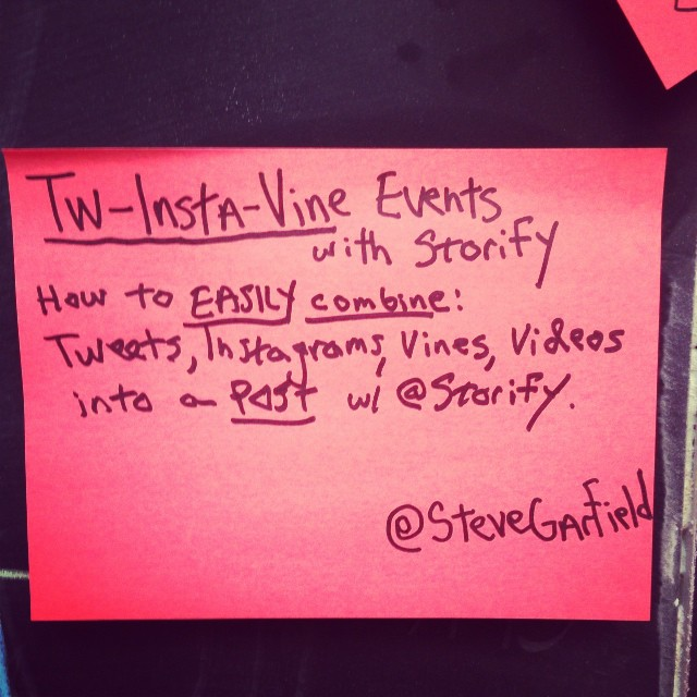 My session: Tw-Insta-Vine Events with Storify. Stata Center #bcbos