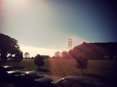Sun burning off that fog. (eviloars) Tags: bridge golden gate san francisco marin karl cavallo sfist cavallopointlodge uploaded:by=flickrmobile denimfilter flickriosapp:filter=denim