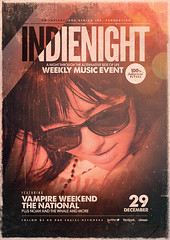 Indie Poster Template Vol. 19 (Indieground Design Inc.) Tags: red music art festival rock club photoshop vintage underground print poster typography concert flyer stitch live stripes grunge gig hipster band minimal retro event singer indie ribbon fest psd template alternative dubstep shoegaze indieground