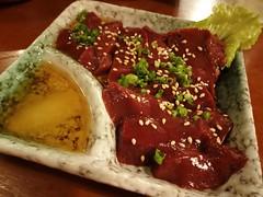 Raw Beef Liver Sashimi on the House!! @Horumon-Ichiba, Wuyilu, Shanghai (Phreddie) Tags: china food dinner restaurant raw yum shanghai beef bbq meat grill eat barbecue offal ichiba horumon 131113