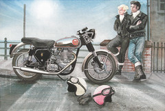 She's out of reach and out of sight (artandfurniture2012) Tags: bsa goldstar rockers bikers moonlight promenade northern motorcycles classic british automotiveart artandfurniture johnlowersonart landscape watercolours watercolour bsamotorcycles bsamotorcyclesgroup bsagoldstar britishbikes johnlowerson landscapes paintings