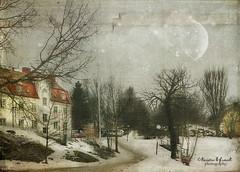 .. winter in the park .. (Kerstin Frank art) Tags: trees winter moon snow cold building texture powerofart creativemindsphotography distressedjewell lesbrumes kerstinfrankart