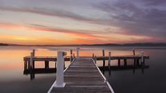 Pastel Skys (Stephanie Owen1) Tags: sunset sky lake colour jetty wharf lakemacquarie squidsink