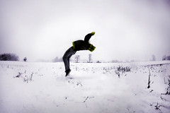 Flying (Quinnbo) Tags: trees snow field yellow flying corn jacket flip snowdi