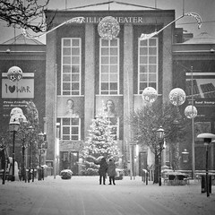 Merry Christmas! (city/human/life) Tags: christmas street xmas city schnee winter people blackandwhite bw house snow cold night buildings germany weihnachten walking deutschland abend licht nikon theater advent theatre nacht haus christmastree menschen christmaslights nrw sw dezember snowfall happyholidays weihnachtsbaum m