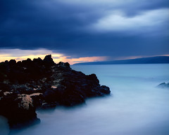 Cerulean (Zeb Andrews) Tags: longexposure sunset film analog landscape hawaii secretbeach stormy maui pacificocean 6x7 tropica pentax6x7 ndfilters makenacove