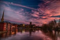 Sunset over River Severn (ukespresso) Tags: sunset cathedral flood riversevern worcester worcestercathedral