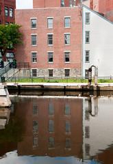 On the Water (alankin) Tags: water buildings reflections massachusetts canals lowell redbrick concordriver 75views xfav niknala nikond300 nikkorafzoom1755mmf28g 25jul2009 1200251au