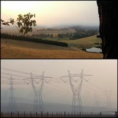 Early morning. (misty1925) Tags: collage fire haze smoke powerlines phonecamera driffield gippsland fotor hernesoak misty1925