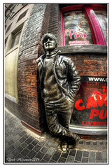 BEATLE SCULPTURE..... (DEREK HYAMSON . OVER 5 AND A HALF MILLION) Tags: sculpture liverpool fisheye beatles 8mm cavern hdr mathewstreet samyang