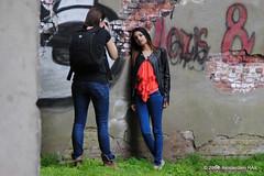 Posing is an art. (Amsterdam RAIL) Tags: girls people mill girl wall female photography graffiti model women industrial photographer teen human teenager modelling fille mdchen meisje interaction muur fotomodel fotograaf meelfabriek twozwei