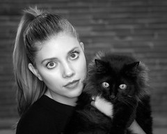 Francesca and Milla (attilio.pirino) Tags: girl cat portrait eyes blackandwhite ragazza gatto occhi biancoenero