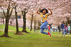 Ayy For Adorable! (Ian Sane) Tags: ian sane images ayyforadorable jump portrait woman trees cherry blossoms old town portland oregon waterfront spring canon eos 5d mark ii two camera ef70200mm f28l is usm lens