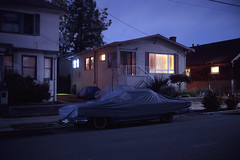 (patrickjoust) Tags: berkeley california covered car house fujicagw690 fujichromet64 6x9 medium format 120 90mm f35 fujinon lens fuji chrome slide e6 color reversal expired discontinued tungsten balanced film cable release tripod long exposure night after dark manual focus analog mechanical patrick joust patrickjoust san francisco area east bay northern ca usa us united states north america estados unidos auto automobile vehicle parked