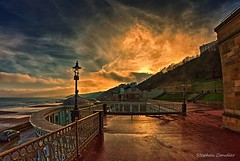 At The Spa (Light+Shade [spcandler.zenfolio.com]) Tags: 2016 england fisheyewideangle hdr northyorkshire scarborough yorkshire ©stephencandlerphotography spcandler stephencandlerphotography httpspcandlerzenfoliocom stephencandler uk lightshade clouds spa landscape coast sea railings