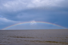 The Rainbow Arch (Raildriver) Tags: luna pier michigan lake erie rainbow weather clouds sky skies