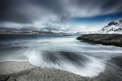 Treachery on Sommaroy Beach (2017-02-18) (snjscuba) Tags: norway arctic sommaroy tromso fjord sea surf beach winter mountains mountain