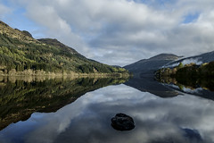 Rock in the Spring Loch - Loch Eck April 2017 (GOR44Photographic@Gmail.com) Tags: loch eck spring reflection water scotland argyll cowal rocks cloud trees gor44 green mountains mist fujifilm xpro1 xf18mmf2 hills