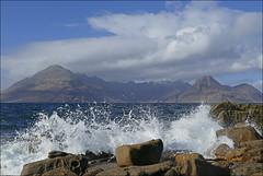 Elgol, Isle of Skye (McRusty) Tags: elgol isle skye cuillin ridge rock rocks wave waves water sea tide splash blue sky clouds west coast highland scotland