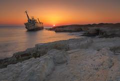 Sunset Wreck (syf22) Tags: shipwreck sunset edroiiiwreck paphos cyprus sundown evening sea water rocky shore sky red orange twilight abandoned alone lonely endofday dayends 日落 沉船 帕福斯 塞浦路斯