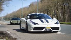 Ferrari 458 Speciale, Lamborghini Huracan - Soest (irv.photos) Tags: ferrari 458 458speciale speciale white holland autogespot sun sunday sunrise sunshine riding ferrari458 458specialea laren larenspot dutch italy carspot car carspotting cars carswithoutlimits carsandbusiness vehicle auto autospot automobile robertvogt photography outdoor carmeeting carevent supercar hypercar racing race speed power circuit topspeed grey silver sportcar sport pon pondealer carparking yellow lamborghini lamborghiniclubnederland huracan