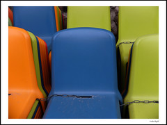 Blue, green & orange (frode skjold) Tags: chairs stoler plastic colors colours farger blue green orange blå oransje grønn oslo norge norway photoshop14 fujifilmx20 plasticchairs