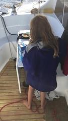 Zoe makes breakfast on the way to Port Davey. (miaow) Tags: tasmania breakfast zoe ocean 9yo woodys world autumn2017 sailing