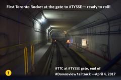 First TTC subway train at gate to TYSSE - Line 1 extension (Toronto-York Spadina Subway Extension - TTC) Tags: subway ttc toronto transit commission rocket tysse