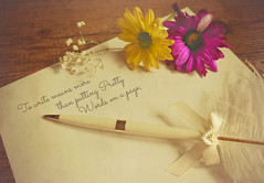 Pretty Words (Through Serena's Lens) Tags: 52stilllifes poetic pen page paper write pretty words stilllife flower 7dwf freetheme