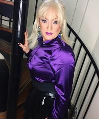Makeover (Sissy kaylah) Tags: tranny transvestite trans tgurl satin purple blouse blonde drag rubber rubbermini shortskirt heavymakeup latex