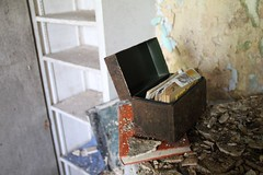 Recipe box in the kitchen. (seventh_sense) Tags: abandoned ruins decay house deserted home homestead porch overgrown field overgrowth brambles weathered derelict decayed decaying rotting fire damage damaged destroyed burned charred collapse collapsed collapsing victorian garrison owings mills maryland firedamaged