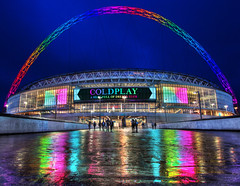 Coldplay at Wembley Stadium (andy.gittos) Tags: coldplay ahfod tour wembley stadium blue hour reflection arch hdr concert london england