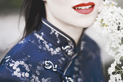 """""""She hides her face, to hide her face. """" A.M. (annabesko) Tags: geisha lips kimono colour colourful kyoto japan japanese beauty redlips flowers sakura"""