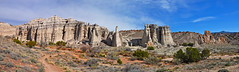 Plaza Blanca Panorama View (James Matuszak) Tags: 2017 newmexico plazablanca panorama landscape rock formations pillars path desert abiquiu