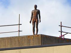 Sculpture, UEA BIO, Norwich, Norfolk (mira66) Tags: statue gormley uea library roof university norwich norfolk uk eastanglia sculpture