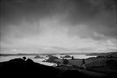 The Bay (spannerino) Tags: analogue analog aristaultra analoguephotography blackandwhite canon9000f contrast clouds 35mm 35mmfilm film filmlives grain handprocessed ilfordlc29 landscape monochrome newzealand nikon nikonf2 nikonf2a nikonphotomic outdoor slr scanned vintagecamera 28mm28ais 28mmais