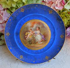 Antique Sevres Porcelain Plates ~ Blue ~ Victorian ~ Gold Gilt (Donna's Collectables) Tags: antique sevres porcelain plates ~ blue victorian gold gilt