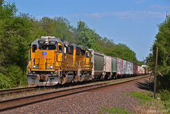 """Westbound Local in Edwardsville, KS (""""Righteous"""" Grant G.) Tags: up union pacific railroad railway locomotive train trains west westbound local emd power kansas city freight"""
