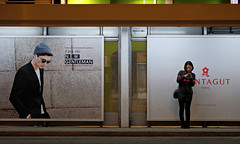 """""""lady and gentleman"""" (hugo poon - one day in my life) Tags: xt2 50mm hongkong sheungwan desvoeuxroad tram sign citynight solitude waiting browse phone gentleman colours two heandshe"""